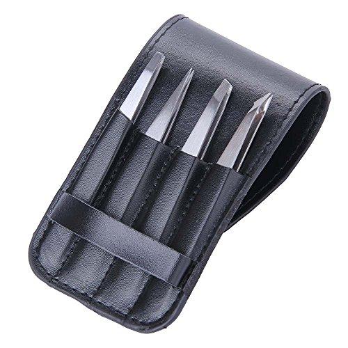 Juego de pinzas profesionales (4unidades) de acero inoxidable - Incluye estuche de viaje - Mayor precisión para depilar cejas y quitar pelos encarnados