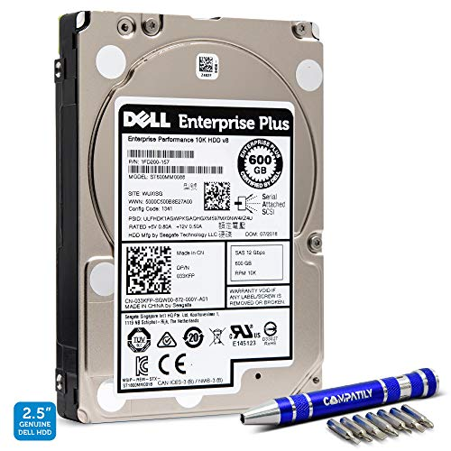 Dell 600GB 10K RPM SAS 12Gb/s 2.5' Bare HDD | Hard Drives Compatible with PowerEdge EqualLogic Servers | No Tray | 33KFP | Seagate ST600MM0088 | Bundle with Compatily Caddy Install Screwdriver Kit
