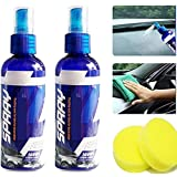 2020 Car Scratch Repairing Polish Spray,Anti Scratch Hydrophobic Polish Nano Coating Agent, Car Ceramic Coating Agent Wax, Fog-Free Deep Shine Slick Surface and Long-lasting Protection 100ml*2 (Waxing)