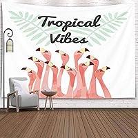 GOOESING タペストリー リビングルーム/ベッドルーム用 フラミンゴの鳥の背景 おしゃれなタペストリー 壁掛け装飾