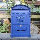 Buzón europeo Villa exterior impermeable colgante de pared creativo jardín buzón (color azul mediterráneo)