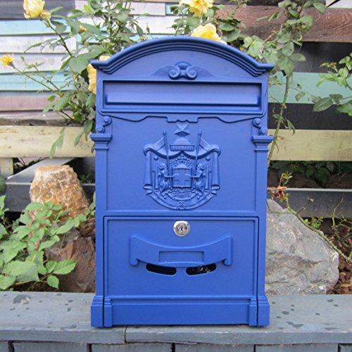 CKH Briefkasten im europäischen Stil, wasserdicht, zum Aufhängen an der Wand, für den Garten, Retro-Briefkasten, Wanddekoration, mediterranes Blau