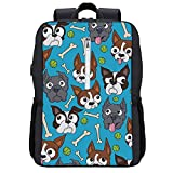 NiYoung Fashion Daypack Large Capacity Anti-Theft Multipurpose Carry-On Bag Backpack for Sports Picnic Bicycle - Boston Terriers Dog Bone, Camping Outdoor Backpack