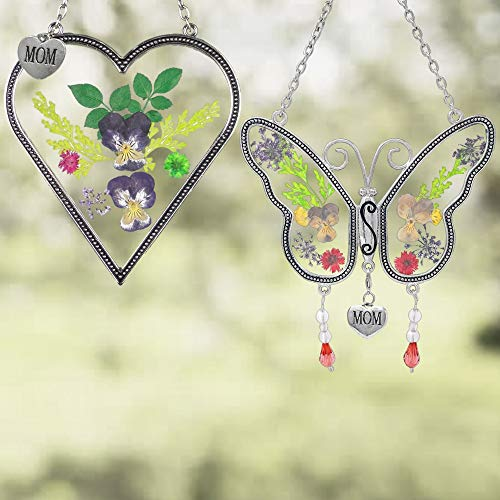 BANBERRY DESIGNS Mom Gifts - Mom Butterfly and Heart Sun Catcher Set - Stained Glass Suncatchers...