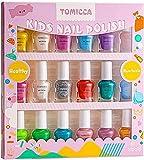 TOMICCA Kit de manicura para niños, Rainbow Candy Colors no tóxicos, Esmalte de uñas natural seguro sin olor lavable, juego de esmalte de uñas de secado rápido, juguetes para niños, Regalos para niñas