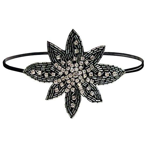 Mia Embellished Headband, Beautiful Black Beaded Flower, Silver Beads, Velvet Backing, for Women, Girls, Dress Up 1920's 1pc