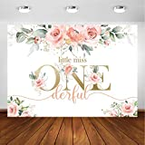 Avezano Blush Pink Floral 1st Birthday Party Backdrop for Girl Miss Onederful Party Photography Background Baby Girl's First Birthday Party Photoshoot Decoration Banner (7x5ft)