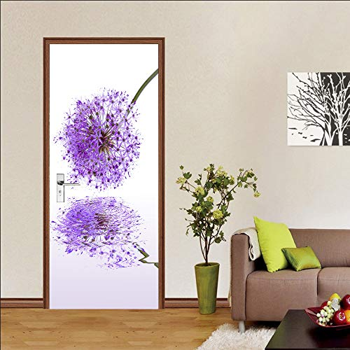 Door stickers and wall stickers, self-adhesive, waterproof and removable, home decoration wallpaper mural, Purple dandelion