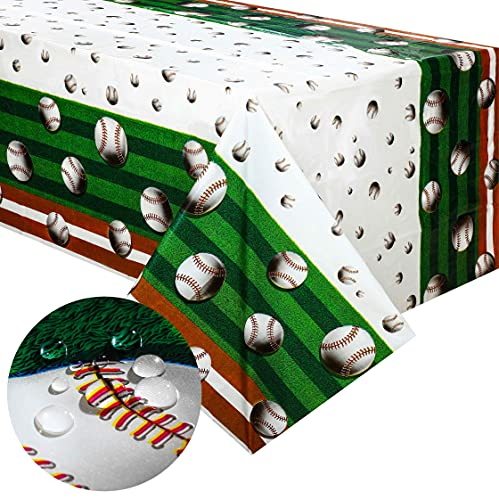 2 Pieces 108 x 54 Inch Baseball Table Covers Baseball Plastic Disposable Tablecloth Sport Theme Tablecloth for Baseball Theme Games Day Birthday Party Decoration Supplies