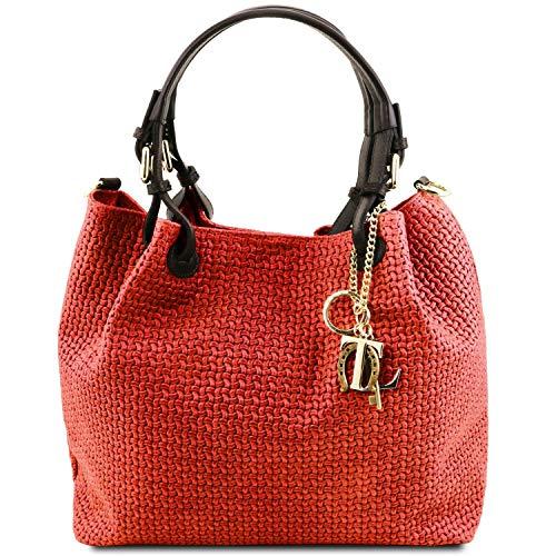 Tuscany Leather TL KeyLuck Borsa shopping in pelle stampa intrecciata Rosso Lipstick