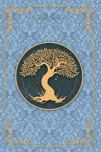 Notebook Planner Golden Hand Drawn Tree Life Luxury Cerulean Frost Background Cover: 6x9 inch, 120 Pages, Financial, Happy, Meal, Organizer, Notebook Journal