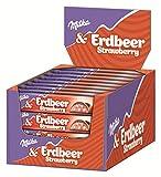 Milka Riegel Choco Erdbeer - Schokoladenriegel mit Erdbeer-Milchcrèmefüllung und Crispies -...