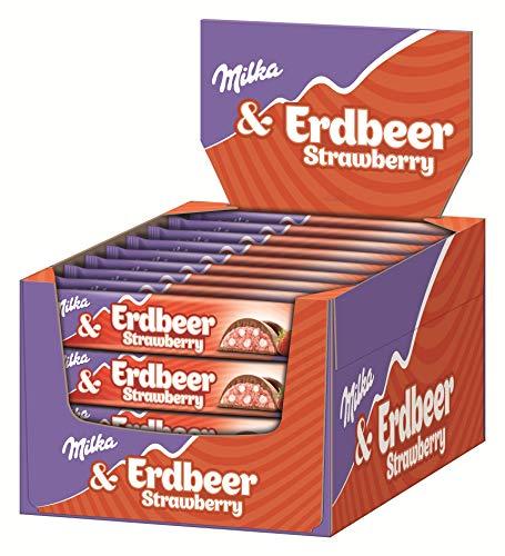 Milka Riegel Choco Erdbeer - Schokoladenriegel mit Erdbeer-Milchcrèmefüllung und Crispies - Thekendisplay - 36 x 36,5g
