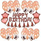 Karids Kit Globos Decoración Cumpleaños con Letras de Happy Birthday para Niña, Oro Rosa, 70 Piezas