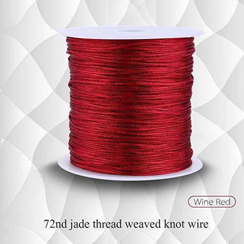 Telituny Cordón de Nudo chino-100M x 0.8 mm Cordón de Nudo Chino de Nailon Cuerda de Hilo de macramé con Cola de Rata Burdeos