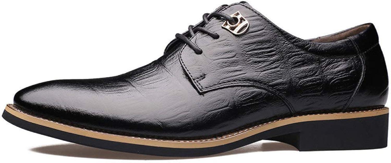 GTYMFH Men's shoes Men's Leather shoes Crocodile Patterns Business Tips Laces Single shoes