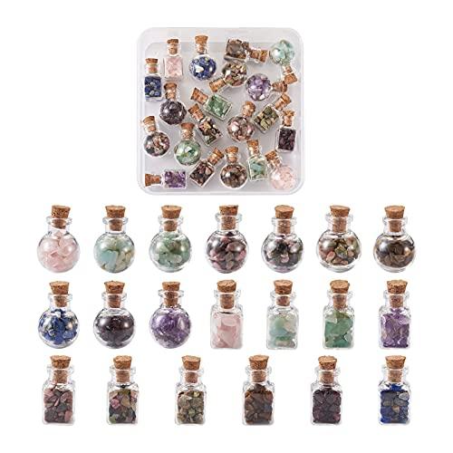 Beadthoven - Juego de 20 mini botellas de piedras preciosas de cuarzo natural Chakra Reiki trituradas chips de piedra para curar el equilibrio de chakras Wicca Wish Maquillaje de joyas, 2 estilos