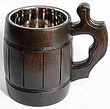 oak beer mug - Handmade Wooden Beer Mug Oak Wood Stainless Steel Cup Old-Fashioned Brown - Wood Carving Beer Mug of Wood Great Beer Gift Ideas Wooden Beer Tankard 20 OZ