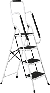 Folding Anti-Slip Safety Step Ladder with Handrail Grips for Home or Office, Four Steps, 62.5 inches Tall, White, White