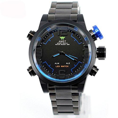 AMST LED-Uhr-Mann-Luxuxmarken-Sport-Militäruhr-echte Quarzuhr Männer Armbanduhren Relogio Masculino (blau)