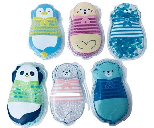 Set of 6 Kids -Child Reusable Animal Shaped Cold Packs (Bears, Penguin, Chick, Seal)