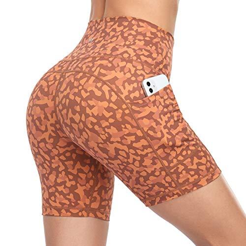 Yuuwaku Biker Shorts Women High Waist Workout Shorts Women Side Pockets Printed Yoga Running Athletic Gym Spandex Shorts Women Tummy Control 4 Way Stretch Non See-Through Fabric - Orange Leopard L