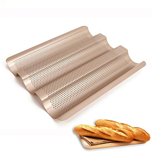 WAYDA Baguette Pan for Baking, French Bread Baking Pan, Nonstick Perforated Baking Tray, 3 Wave Loaves Loaf Bake Mold for French Bread Baking and Homemade Bread