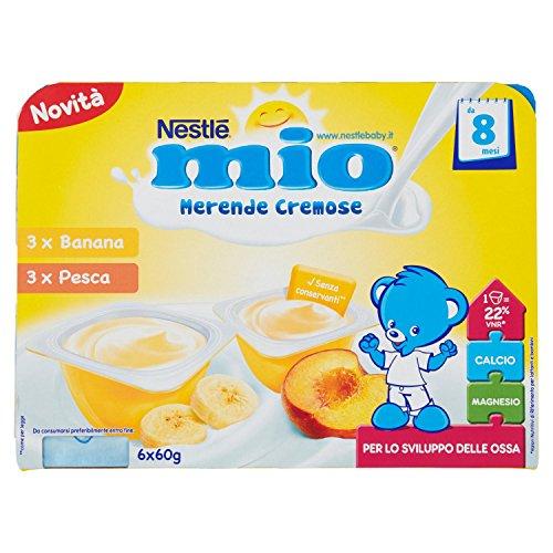 Nestlé Mio Merenda Cremosa Banana e Pesca da 8 Mesi, senza Glutine - 4 confezioni da 6 pezzi da 60 g [24 pezzi, 1440 g]