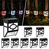 Solpex Solar Fence Lights, 8 Pack Solar Deck Lights, 2 Model Solar Wall Lights, Multi-Color Changing Deck Decor Lighting up Outdoor Stairs, Yard, Fence, Deck and Pathway(Warm White & Color Changing)