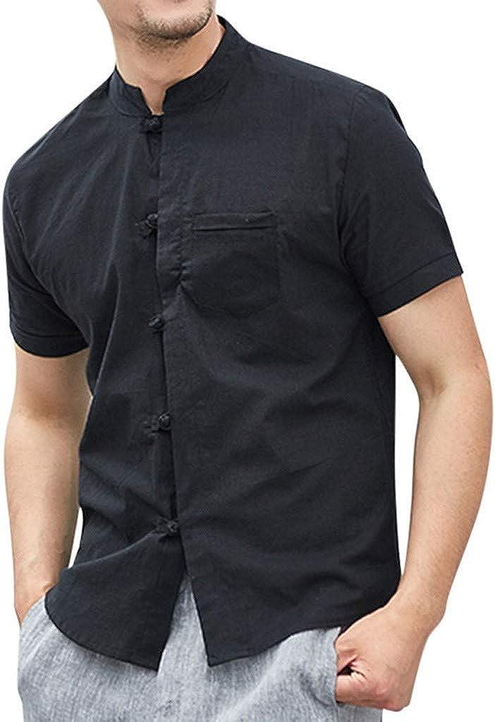 MODOQO Men's Shirt-Summer Vintage Loose Fit Cotton Linen Solid Color Short Sleeve Tees