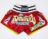 Dr. K.O. Pantalones Cortos Muay Thai y Kick Boxing para Adultos y niños (Rojo, M)