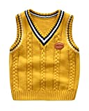 Niños Niñas Jersey De Punto Sin Mangas Chaleco Cuello En V Suéter Pullover Uniforme De Colegio Amarillo 90 Adecuado para la Altura: 90CM