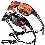 Perfectmiaoxuan Gafas de sol polarizadas para hombre mujer/Golf de pesca fresco Ciclismo El golf Conducción Pescar Alpinismo Deportes al aire libre Gafas de sol (2 PACK (black/red))
