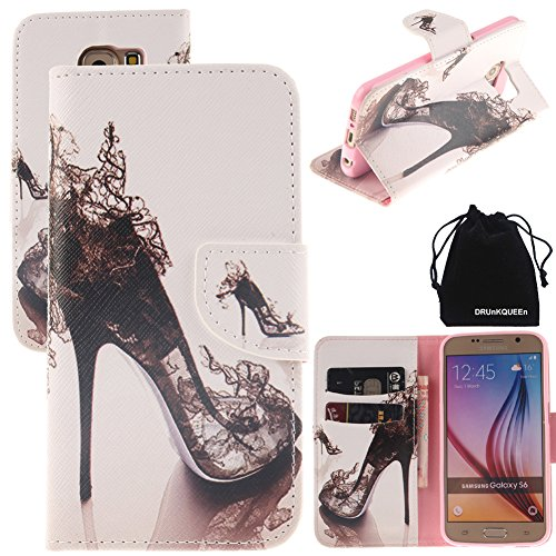 DRUnKQUEEn S6 Case, PU Leather Credit Card Holder Case Stand Feature Wallet Type Flip Folio Cover - for G920 Samsung Galaxy S6