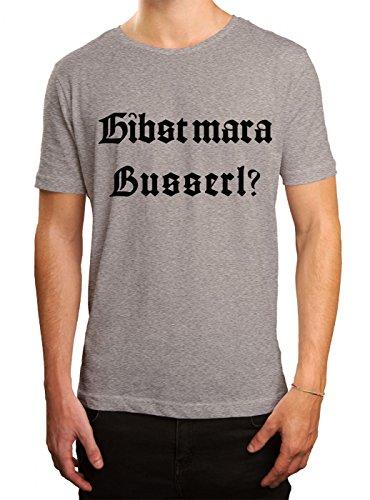 Oktoberfest Wiesn Premium T-Shirt | Dirndl | Gibst mar a Busserl? | Tracht | Herren | Shirt © Shirt Happenz, Farbe:Graumeliert (Grey Melange L190);Größe:5XL