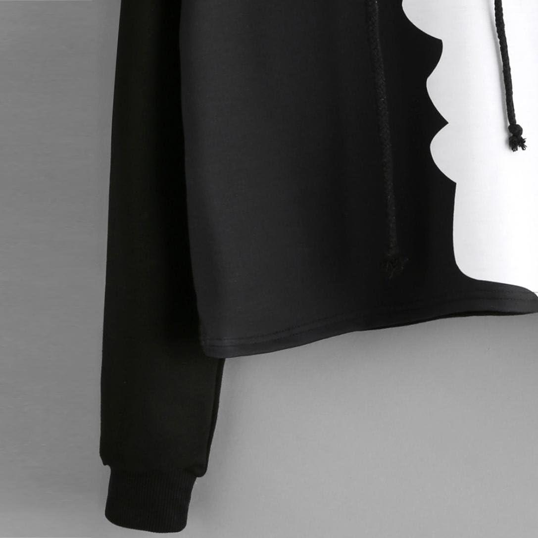 TOPUNDER 2018 Women Ladies Sweatshirt Hooded Long Sleeve Crop Patchwork Blouse Pullover Tops Coat