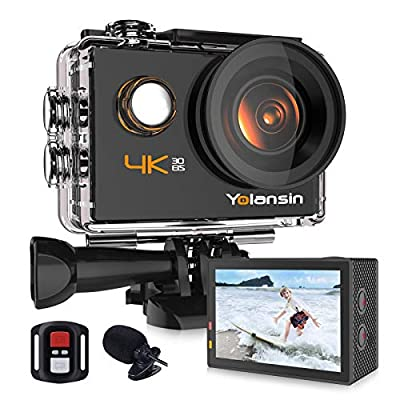 Yolansin 4K Action Camera 20MP 40M Waterproof EIS Sports Camera with 170° Wide Angle Ultra HD DV Camcorder with 2.4G Remote Control 2 Batteries Mounting Accessories by Yolansin