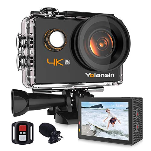 【2021 Upgrade】 Yolansin 4K Action Camera,Waterproof Camera,Underwater Camera 20MP 40M EIS 2 Batteries Mounting Accessories Camera with 2.4G Remote Control with 170° Wide Angle Ultra HD DV Camcorder