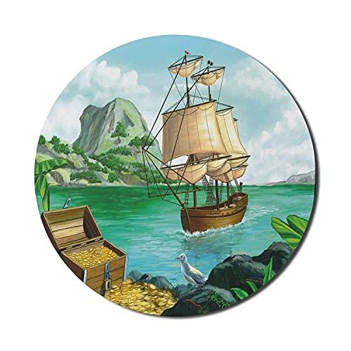 Pirate Mouse Pad für Computer, exotische Küste mit Truhe voller Gold Altes Schiff Tropic Nature Wealth Landscape, rundes rutschfestes dickes Gummi Modern Gaming Mousepad, 8 'rund, mehrfarbig