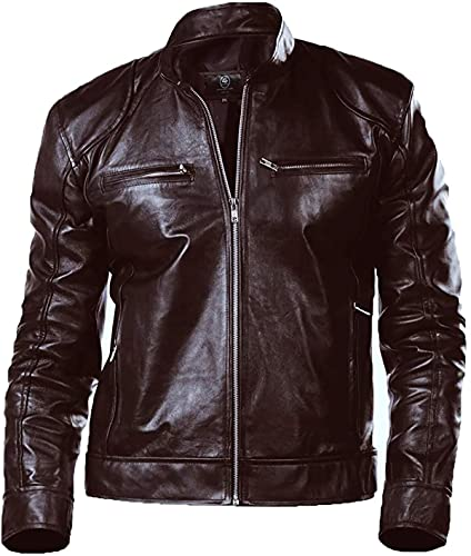 EU Fashions Chaqueta de piel de cordero para hombre, ajuste delgado, color negro y marrón