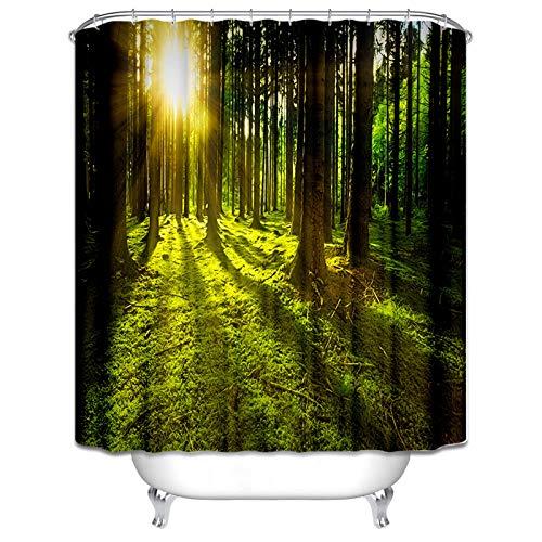 Daesar Polyester-Stoff 3D Vintage Duschvorhang 120x180 cm Wald Sonnenaufgang Anti-Schimmel Duschvorhang