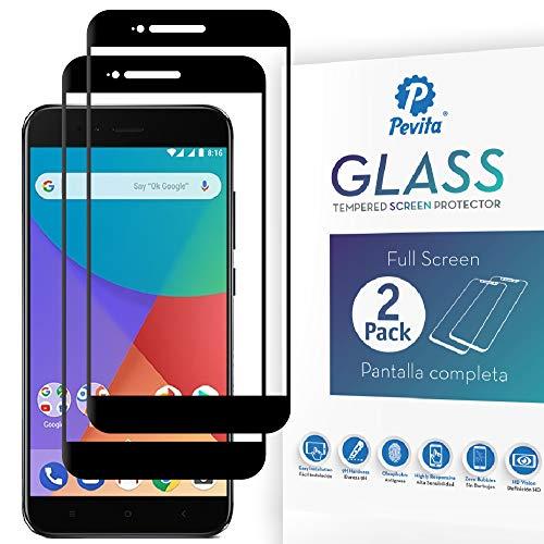 Pevita Protector de Pantalla para Xiaomi Mi A1 [2 Packs] Full Screen. Dureza 9H, Sin Burbujas, Fácil Instalación. Protector de Pantalla de Cristal Templado Premium para Xiaomi Mi A1