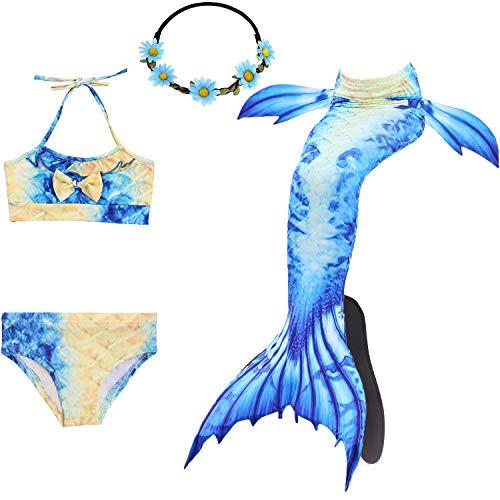 COZY HUT 2019 Mädchen Meerjungfrau Bademode 5pcs Bikini Badeanzug Set Meerjungfrauenschwanz Badebekleidung Kinder Schwimmen Schwimmanzug Meerjungfrau Cosplay Kostüm