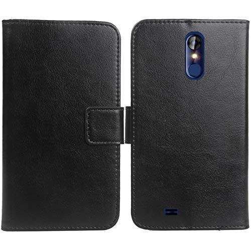 """Gukas Housse Coque pour Logicom Le Hop 6.18"""" PU Leather Cas Couverture Cuir Etui Case Cover Flip Protection Portefeuille Wallet Noir"""