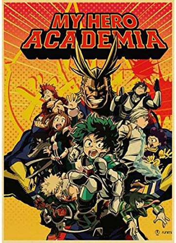 HANJIANGXUE Canvas Posters Janpnese Anime My Hero Academia Retro Posters Wall Paper Painting Decor Wall Stickers50*70 Cm Strong Durability