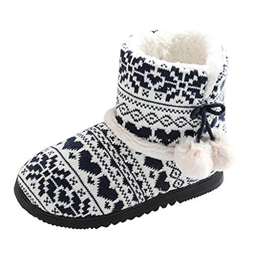 DAIFINEY Damen Retro Hohe Pantoffeln Baumwollsocken Stiefel Schuhe Weichen Winter Baumwolle Plüsch Wärme Weiche Hausschuhe Kuschelige Home rutschfeste Slippers mit Cartoon(Damen-Schwarz/Black,40)