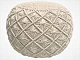 Pouf Ottoman Hand Knitted Cable Style Dori Pouf - Macramé Pouf - Floor Ottoman - 100% Cotton Braid Cord - Handmade & Hand Stitched - Truly one of a Kind Seating - 20 Diameter x 14 Height (Ivory)