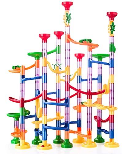 Kriogor 133 Pcs Murmelbahn Marble Run Set mit Bahnelementen und Glasmurmeln, DIY Kugelbahn Lern und Konstruktionspielzeug für Kinder Mädchen Jungen ab 3 Jahren