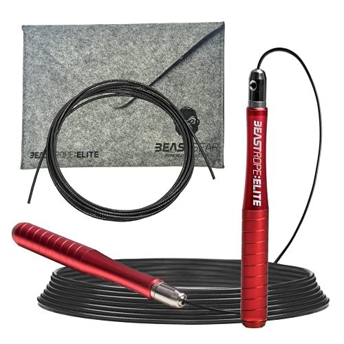 Beast Gear - Beast Rope Elite Springseil - Premium High-End Aluminium Speed Rope für Fitness, Konditionierung & Fettabbau. Ideal für Crossfit, Boxen, MMA, HIIT Intervall-Training & Double Unders