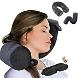 Twist Memory Foam Travel Pillow Neck,Chin,Shoulder,Lumbar and Leg Support for Adult Airplane Traveling,Bus,Train and Office (Black)